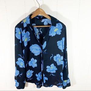 Black Sheer Career Blouse Blue Floral Small